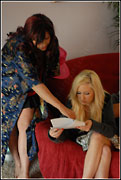 Nicki and Hillary go over her lines on the set of Desperate Wives 3 for SexZ Pictures