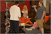 Jonathan Morgan gives the girls some direction as Red Ezra captures it for BTS on the set of Fired for Wicked Pictures