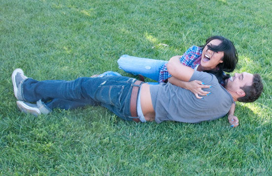 Rolling In the Grass On The Set of Girl Trouble for Wicked Pictures